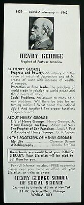 1942 Ink Blotter Henry George School of Social Science, Chicago, Illinois