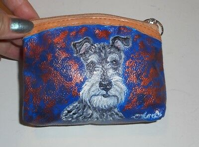 Miniature Schnauzer dog Hand Painted Leather Coin Purse
