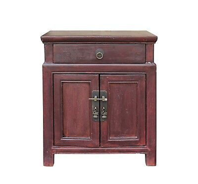 Oriental Chinese Distressed Brown Side Table Nightstand Cabinet cs3541