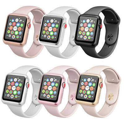 For Apple Watch Series 3 2 1!Electroplate TPU Watch Cover Case Frame Protector