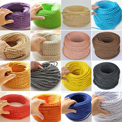2 Core Twisted Vintage Style Coloured TWIST Braided Fabric Cable Light Flex