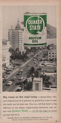 1958 Miami Beach Fl Highway Road Street Quaker State Oil can Ad