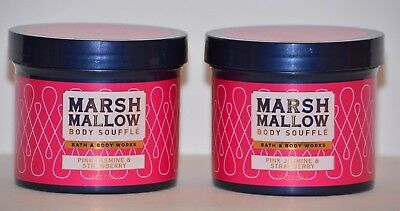 2 Bath & Body Works Marshmallow Body Souffle butter Pink Jasmine Strawberry 10oz