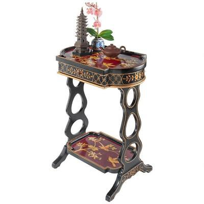 Asian Style Hand Painted Birds & Flowers Lacquered Accent Side Table