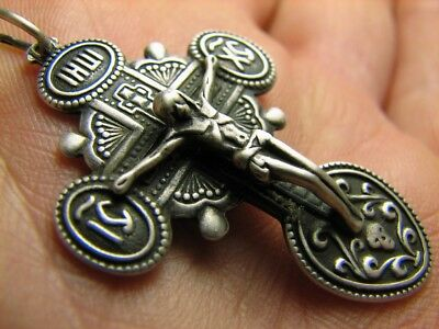 Massive! Big Size.nice Sterling Silver Vintage Church Cross Pendant / Chain #80