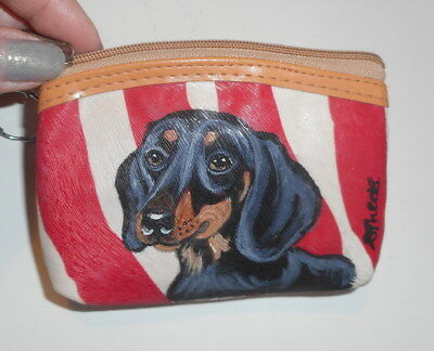 Black and Tan Dachshund dog Hand Painted Leather Coin Purse
