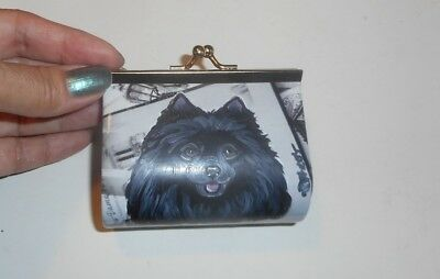 Black Pomeranian dog Hand Painted Leather Coin Purse