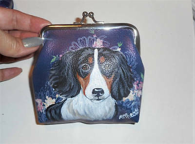 Piebald Dachshund dog Hand Painted Leather Coin Purse Mini Wallet