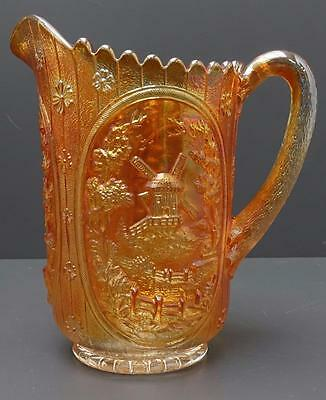"""Vintage Imperial Carnival Glass Marigold Luster Windmill Water Pitcher 8.5"""""""