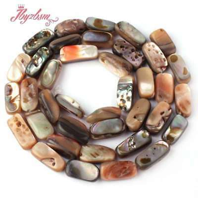 """4x10-5x11mm Natural Freefrom Mutil-Color Abalone Sea Shell Rainbow Stone Bead15"""""""