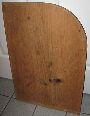 Antique Lg Unique Shaped Wooden Bread Board With Baker End Handle & Curved End