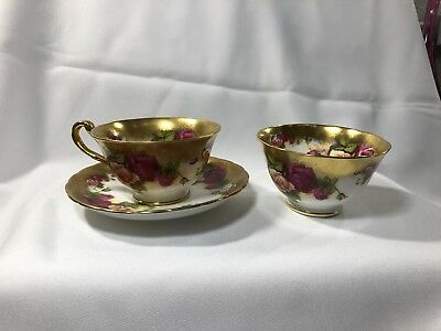 Royal Chelsea GOLDEN ROSE Teacup Saucer Handleless Teacup Set Gold Gilt England