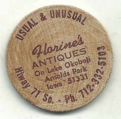 Florine's Antiques On Lake Okoboji Arnolds Park Iowa Wooden Nickel-Mar317