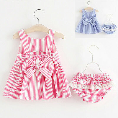 Newborn Baby Girl Bowknot Backless Tops Dress+Shorts Pants Bloomers Set Outfit