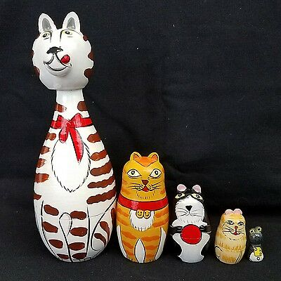 Vintage Wood Nesting Cats - Four Cats and a Mouse - Hand-Painted