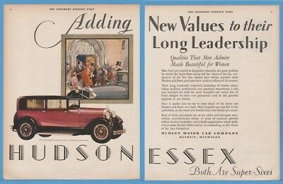 1928 Hudson Motor Car Detroit MI Essex Super Six sedan automobile art deco ad