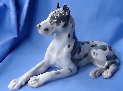 "Vintage 12"" Harlequin Great Dane Bing Grondahl Denmark Dog"