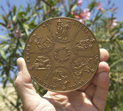 Frence, gift medal, Best Wishes, 100mm, symbols of arts, Devigne