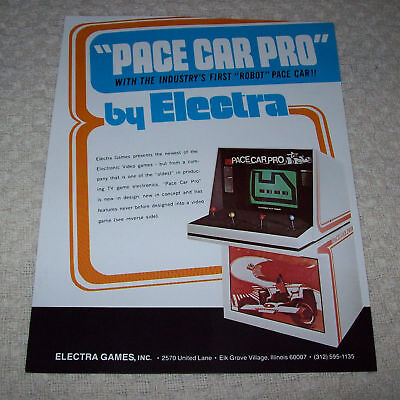 Electra Pace Car Pro Video Arcade Game Flyer Brochure