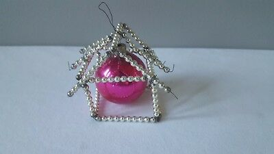 Vintage Antique Beaded Mercury Glass House w/Pink Bulb Christmas Ornament