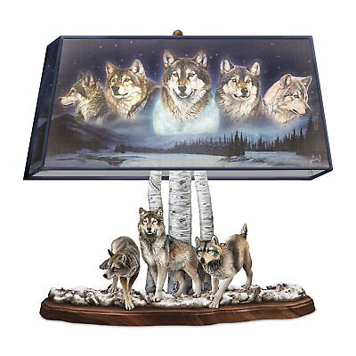 Spirit Wolf Pack Forest Table Lamp Wolves Statue Sculpture Light Lamps NEW
