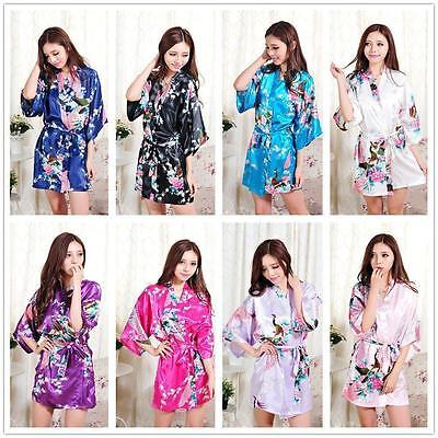 2017  Bride Bridesmaid Robe Women Floral Bathrobe Kimono Robe Peacock