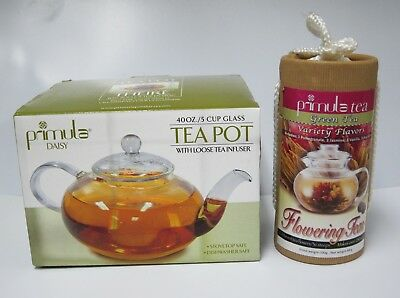 Primula Blossom 40 Oz. Glass Teapot Infuser and Lid with 12 Flowering Teas