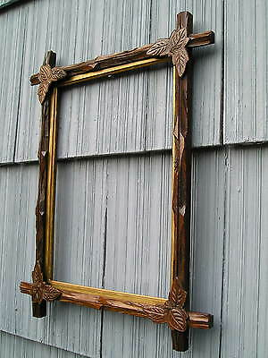 Antique Victorian Adirondack Black Forest Leaf Corner Aged Picture Frame 10 x 14