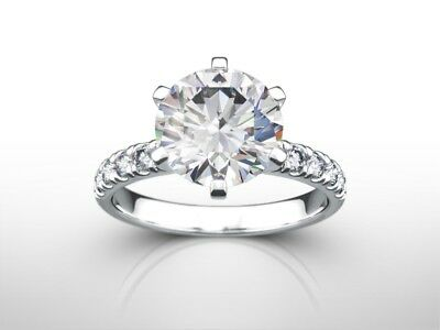 3 1/4 Ct Round  D/Si2 Enhanced Diamond Solitaire Engagement Ring 14K White Gold