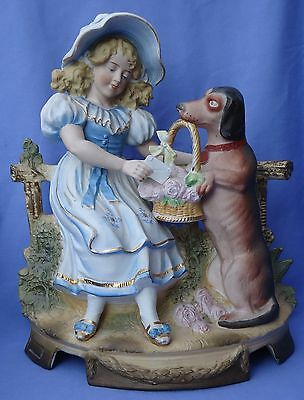 Antique Bisque Dachshund & Girl Heubach Germany 11""