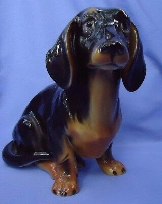 "12"" black/tan DACHSHUND dog 1950s AUSTRIA"