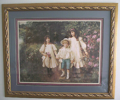"Home Interiors Children 34x27.5"" Victorian Gold Wood Frame  George Harcourt"