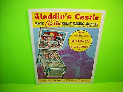 Bally ALADDIN'S CASTLE Original 1976 Flipper Game Pinball Machine Promo Flyer
