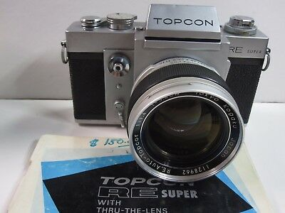 TOPCON RE SUPER Film Camera with RE Topcor 5.8cm 58mm 1.4 Lens Very Clean
