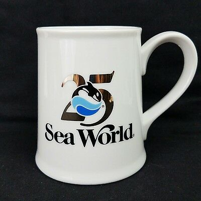 """Vintage Large Sea World Mug """"25"""" Limited Edition White Gold Colored Numbers #259"""