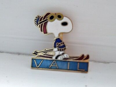 Aviva Peanuts Snoopy Skiing Vail Colorado Pin - Blue Red Sunglasses