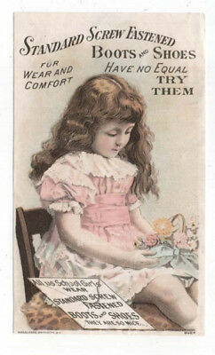 Standard Screw Fastened Boots and Shoes Trade Card,  A Young Girl