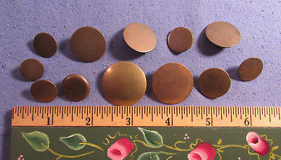 Antique Lot Of 12 18Th Century Brass Shank Buttons Military ? 1 Design Back Mark