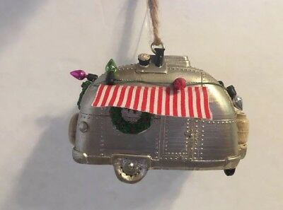 Vintage Trailer Christmas Ornament Airstream, Tin can ham Travel Trailer