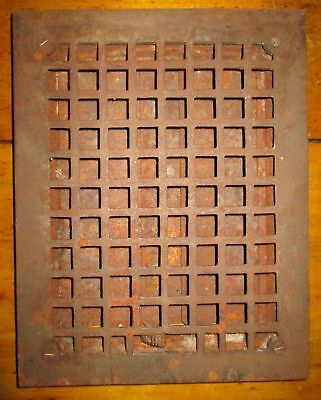 "Antique Vintage Cast Iron Floor Louvered Heat Grate Vent 13.75"" x 10.75"""