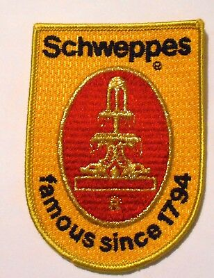 "Schweppes Embroidered Soda Patch Vintage 3"" X 4-1/4"""