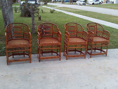 Set Of 4 Vintage Mid Century Brighton Pavillion Burnt Bamboo Arm Chairs
