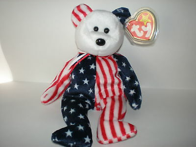 Ty Spangle Beanie Baby Bear White Face Patriotic Red White + Blue New Mint