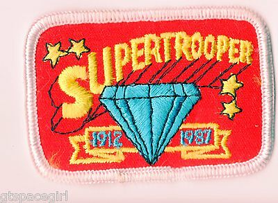 Girl Scouts Embroidered Badge Patch~1987 75th Anniversary Red Supertrooper