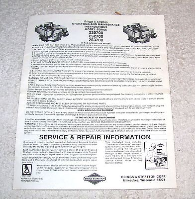 Briggs & Stratton Operating Instructions--220700, 252700, 253700--1983