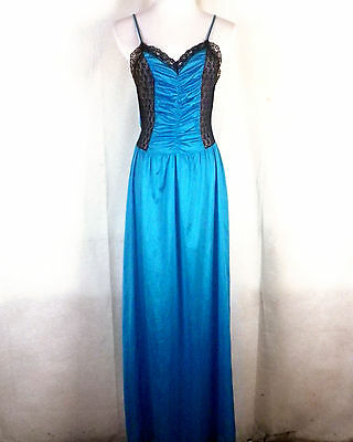 vtg 80s 90s Undercover Wear turquoise black Lace Nightgown Lingerie OLGA full S