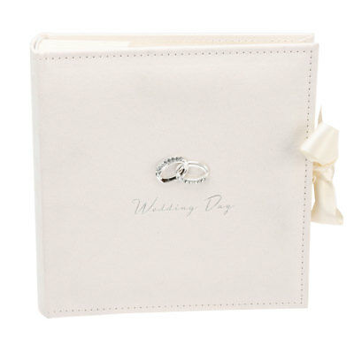 "Amore Ivory Suede Wedding Day Photo Album 100 Slip In 7x5"" Photographs Pictures"