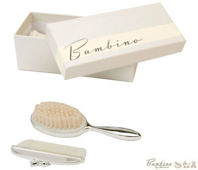 NEW Baby Brush and Comb Set in Silver Lovely Christening Newborn Shower Gift