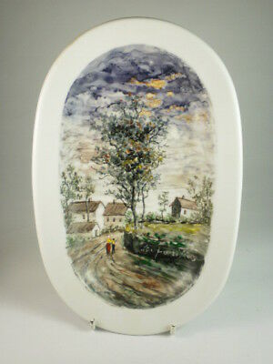 Danish Hand Painted Village Oval Wall Plate