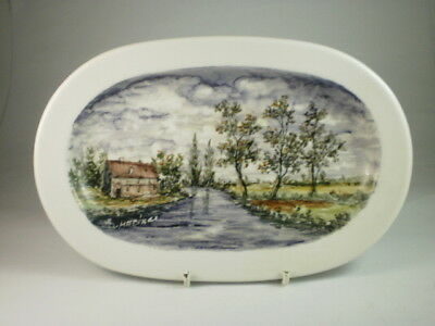 Danish Hand Painted Farmhouse Oval Wall Plate